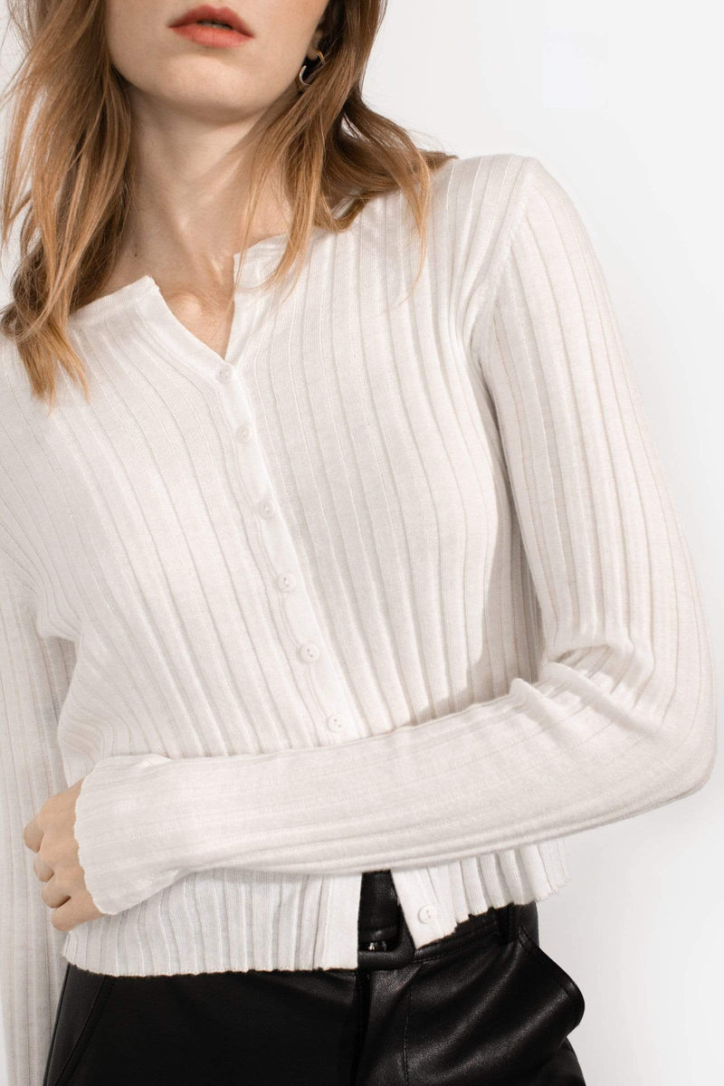 Cozy White Ribbed Cardigan