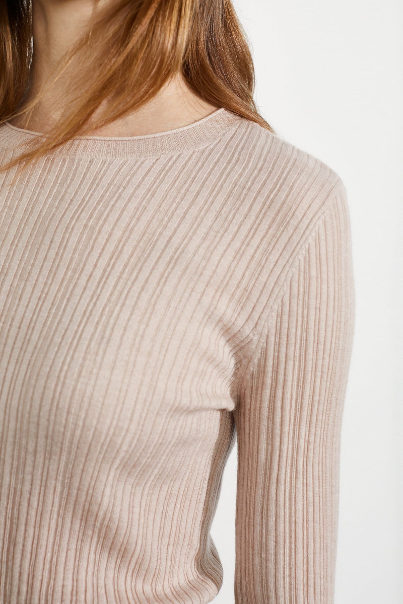 Cozy Pink Ribbed Sweater