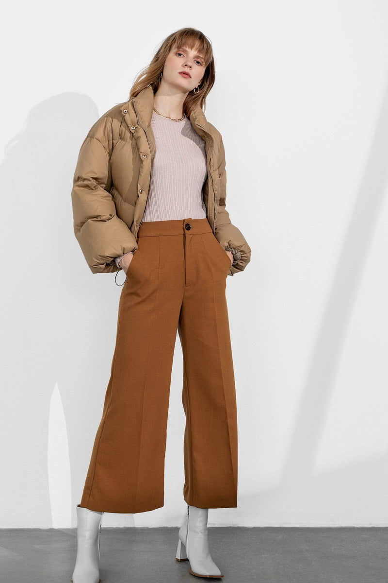 Business Camel Flared Slacks