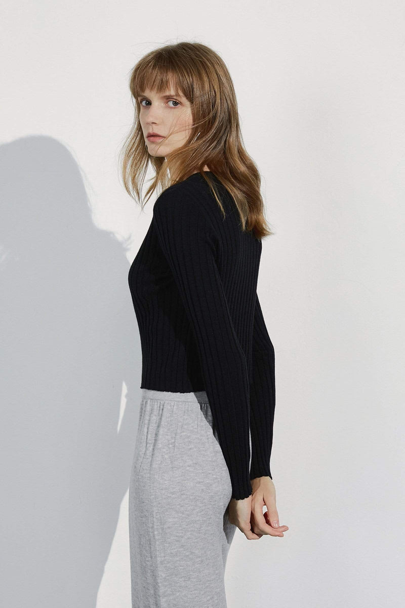 Cozy Black Ribbed Cardigan