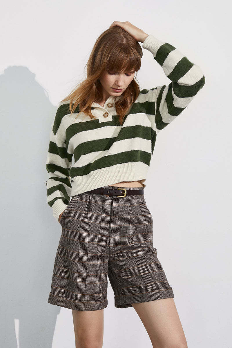 Hasser Green Striped Sweatshirt