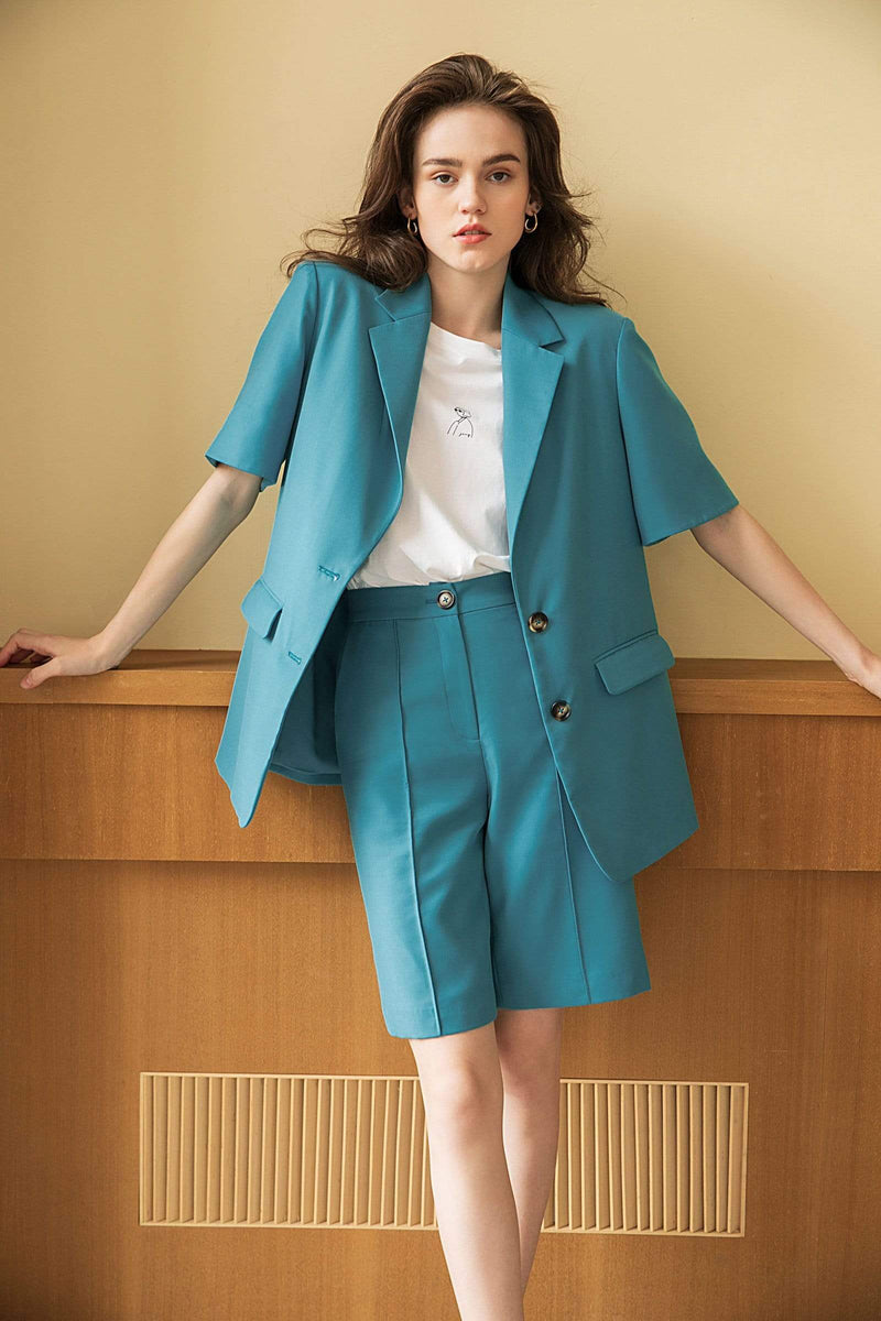 Chadwick Teal Short-Sleeve Blazer