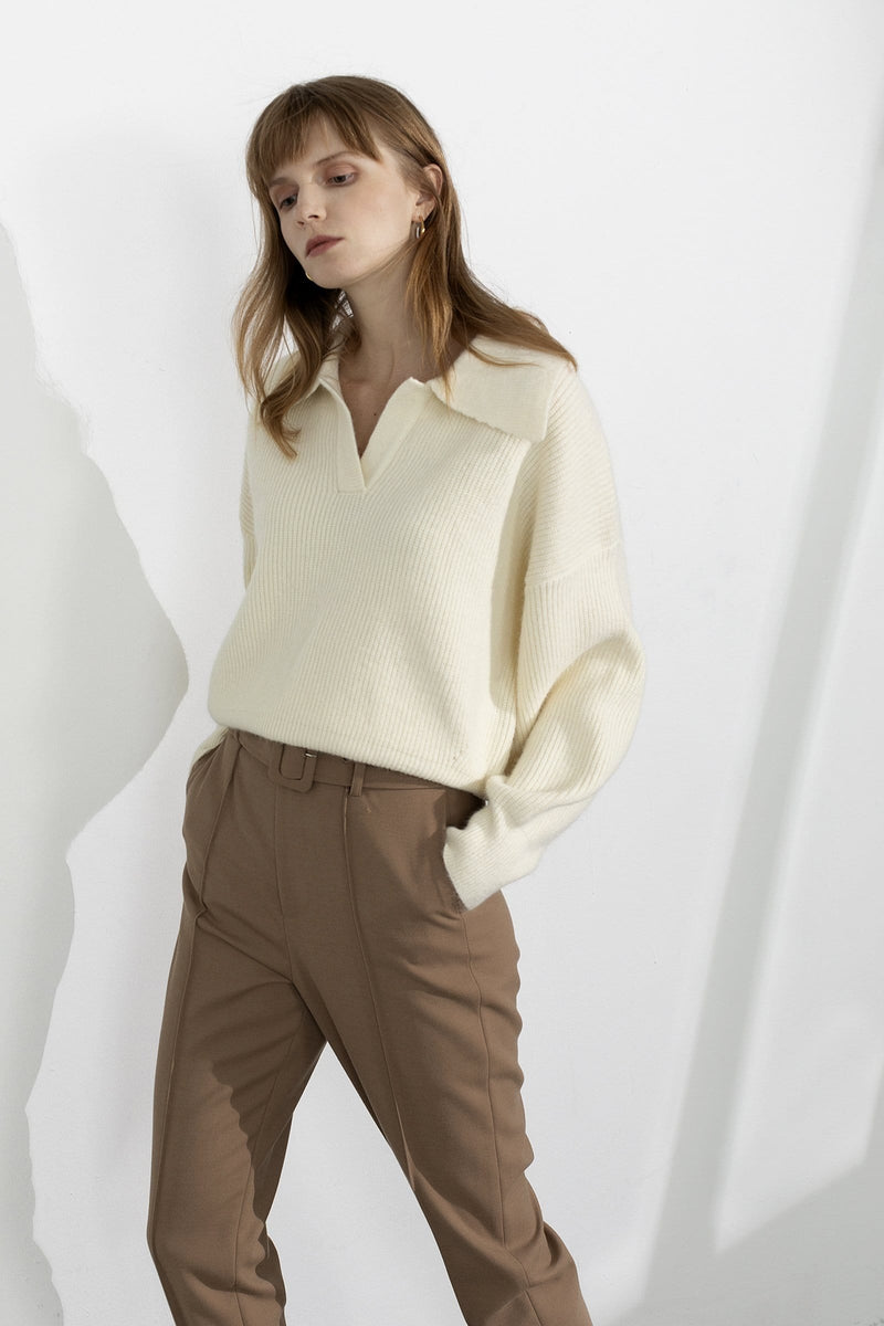 Henrietta Ivory Collared Sweater