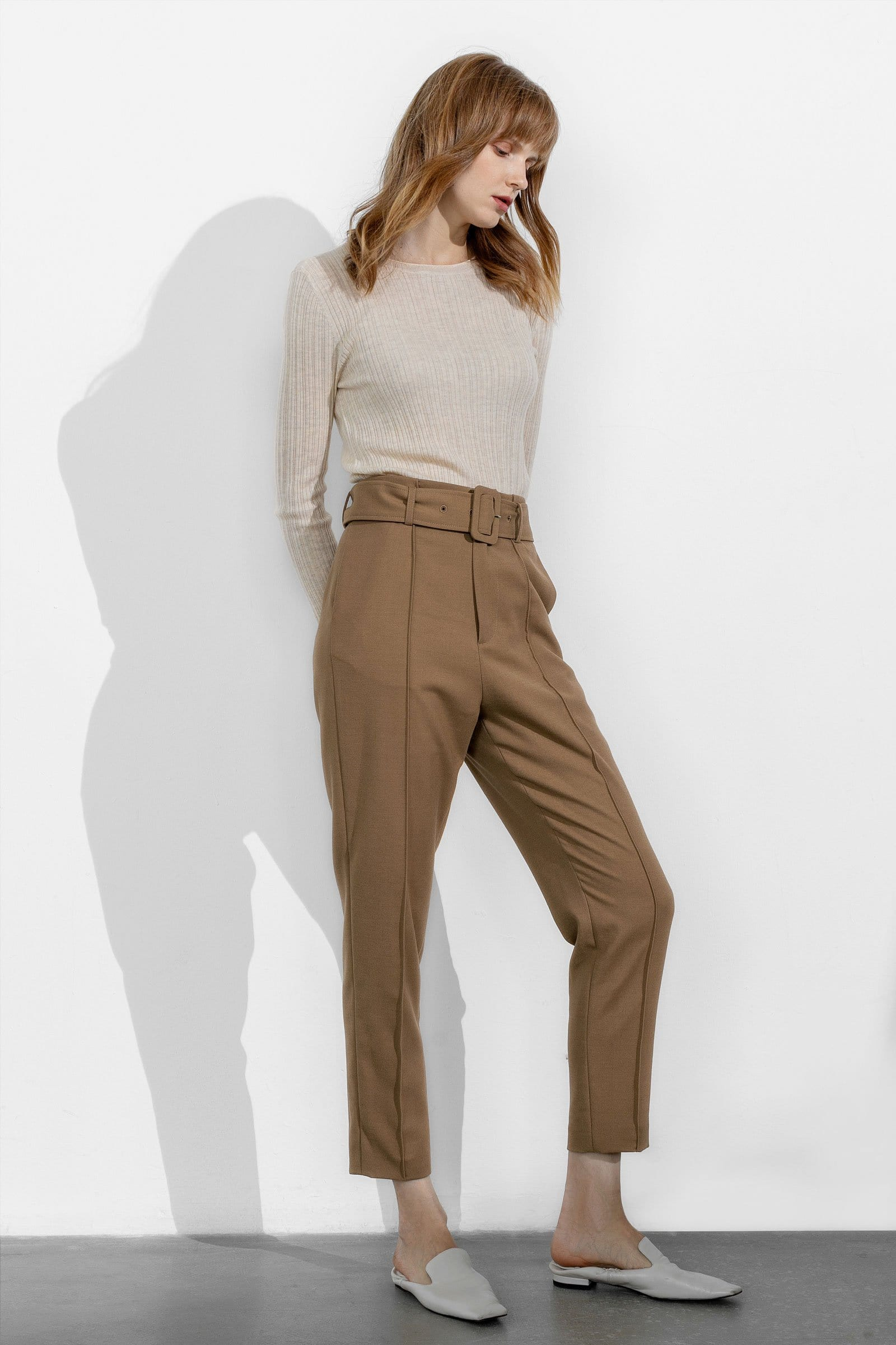 Business Brown Belted Trousers