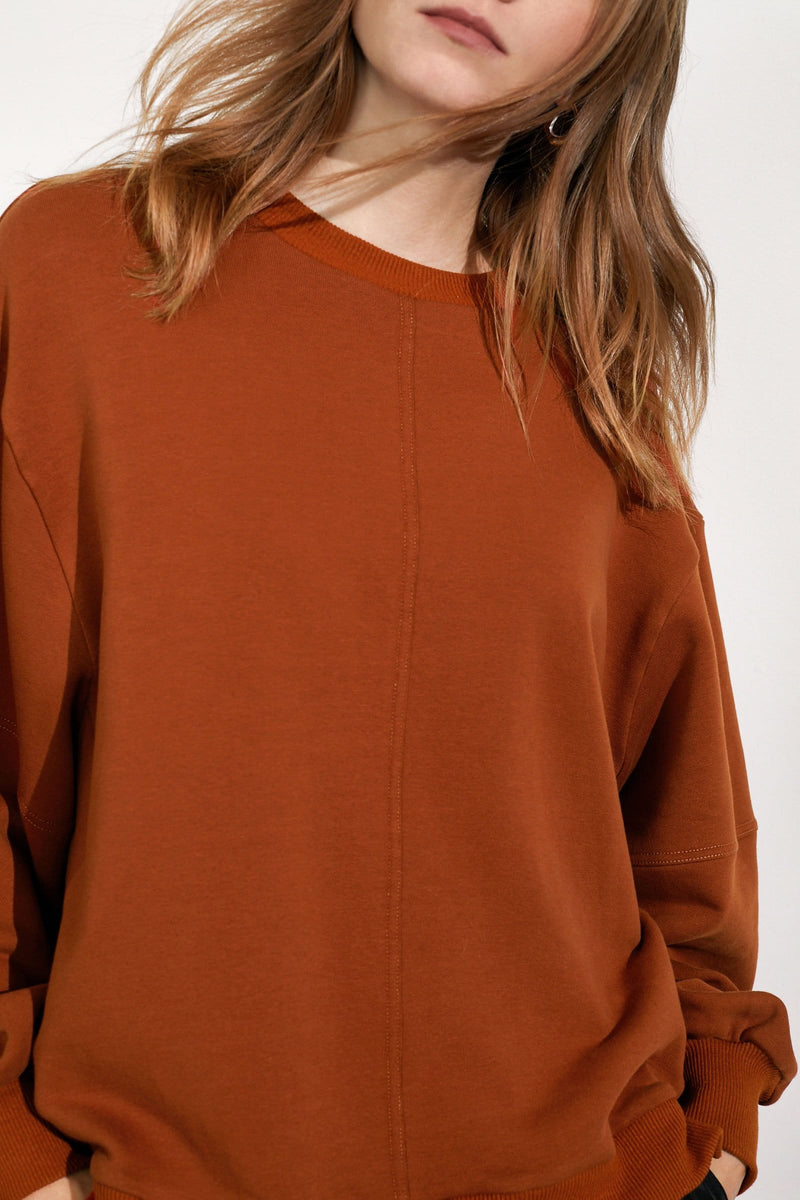 Essential Brown Slit Hem Sweatshirt
