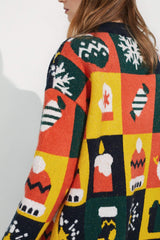 Oversize Holiday Knit Cardigan