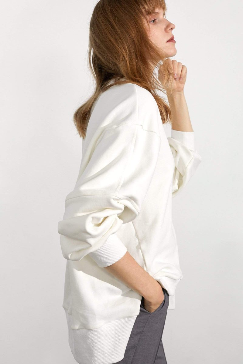 Essential White Slit Hem Sweatshirt