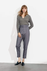 Business Charcoal Belted Trousers