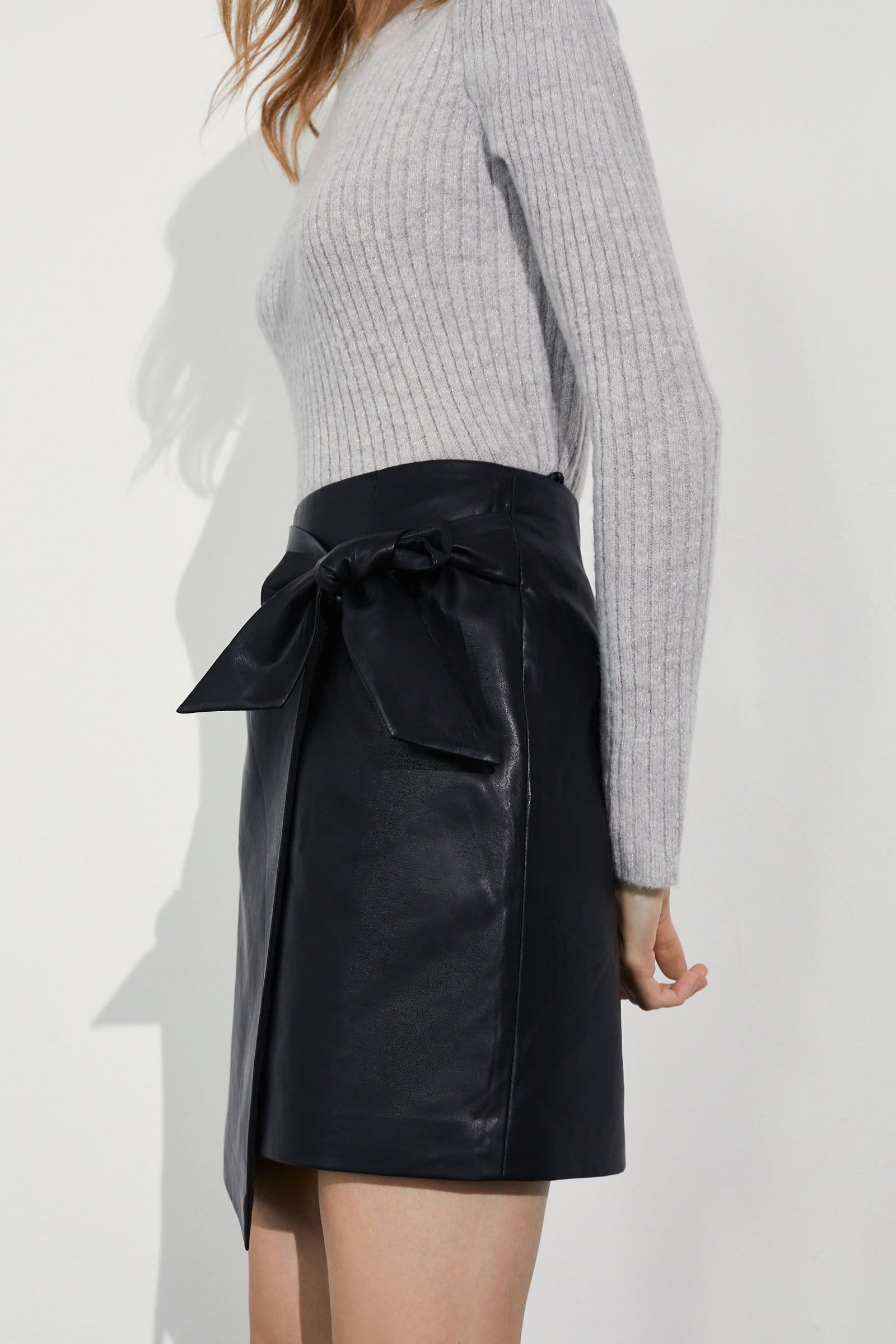 Evie Black Envelope Leather Skirt