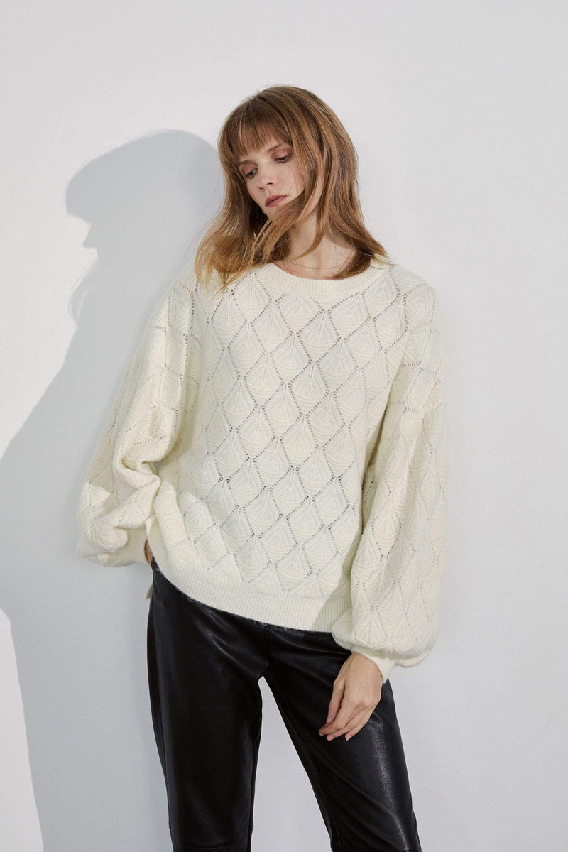Diamante White Puff Sweater