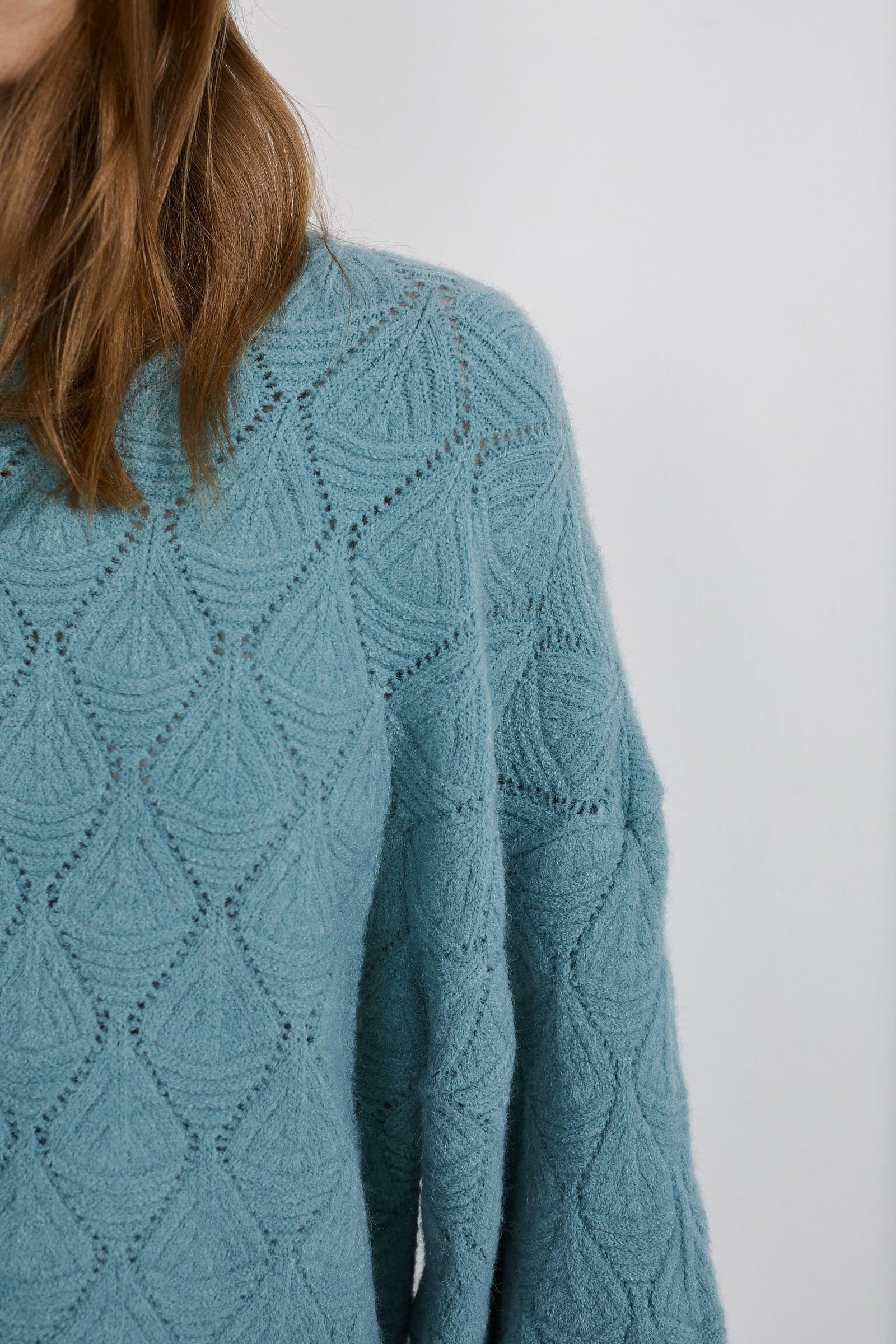 Diamante Teal Puff Sweater