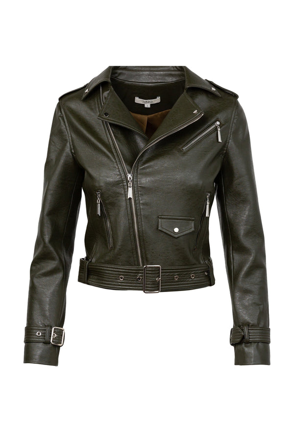 Moss Green Leather Moto Jacket