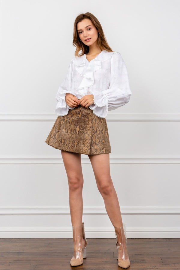 Brown Snakeskin Mini Skirt