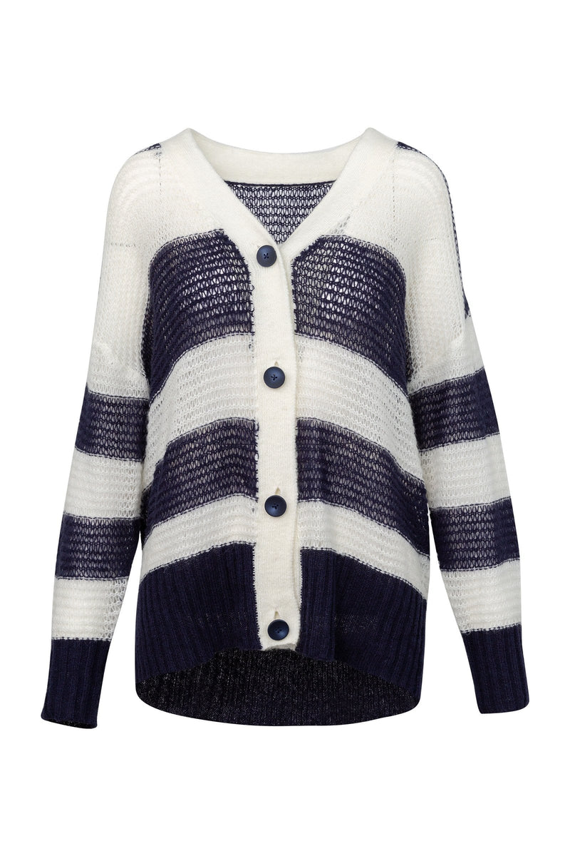 Fozz Navy Panel Knit Cardigan