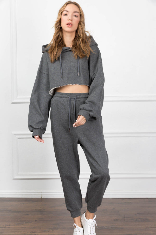 Eliza Cropped Charcoal Hoodie in Tops by J.ING - an L.A based women's fashion line