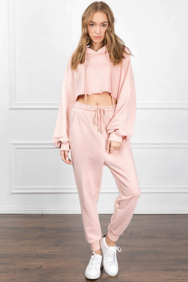 Eliza Cropped Pink Hoodie in Tops by J.ING - an L.A based women's fashion line