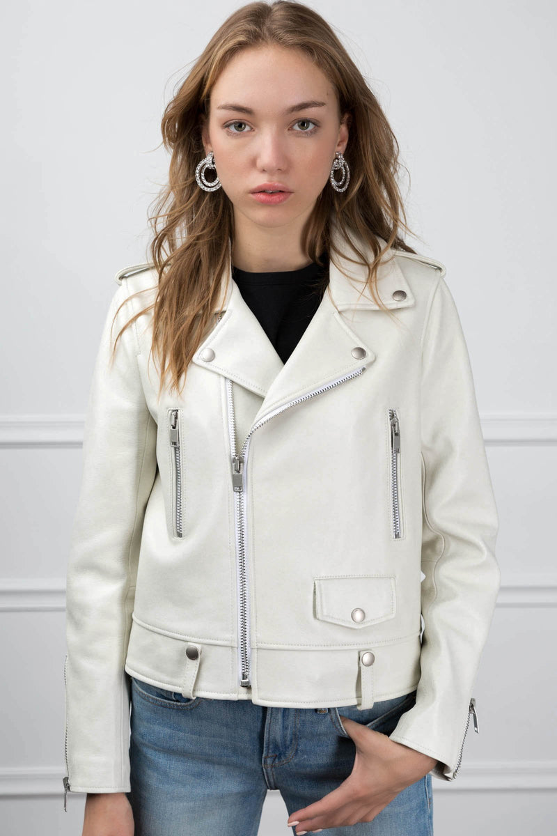 Joana Moto Jacket Ivory in Coats & Jackets by J.ING - an L.A based women's fashion line