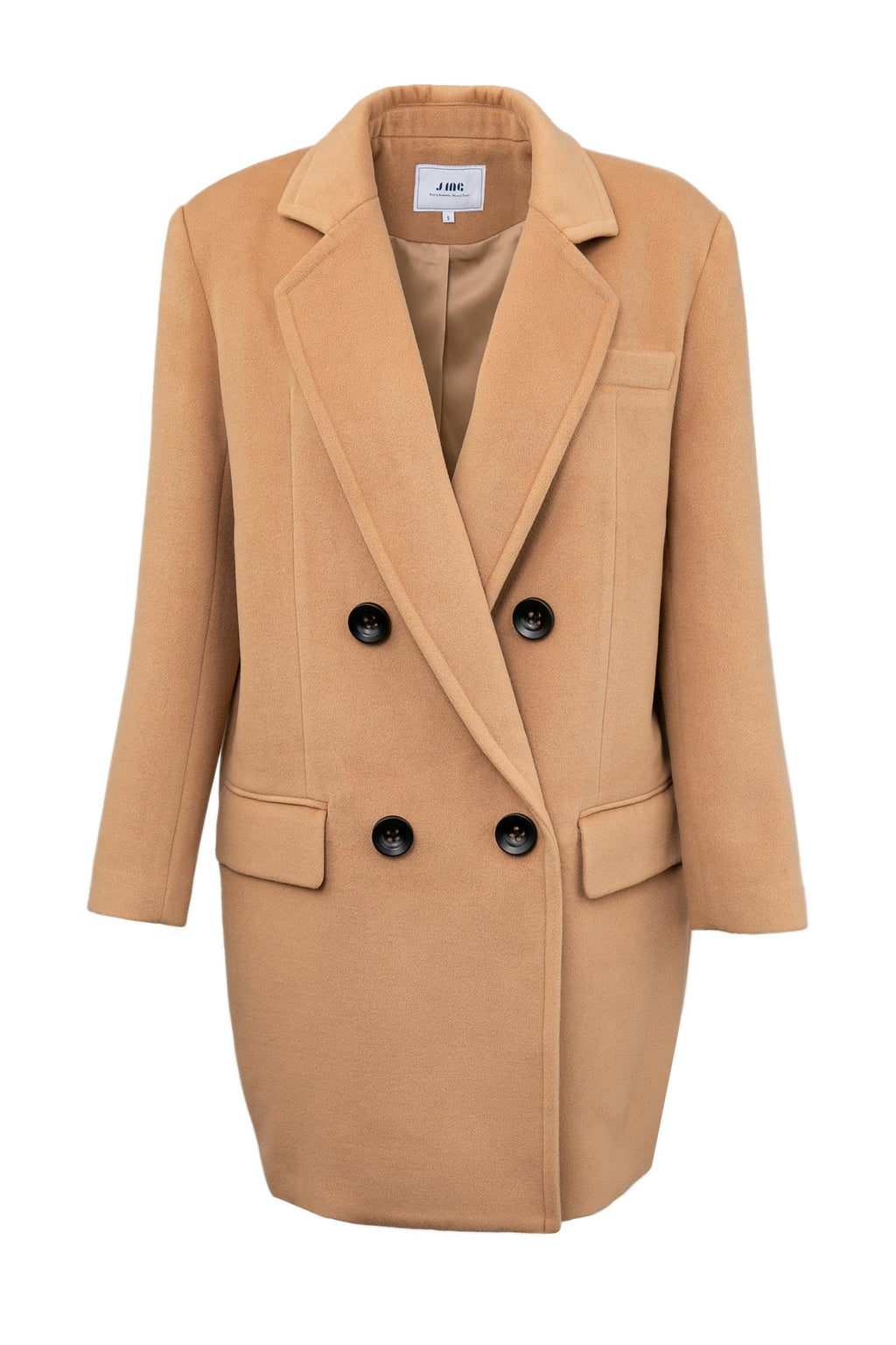 oakey brown oversize pea coat for women by j.ing