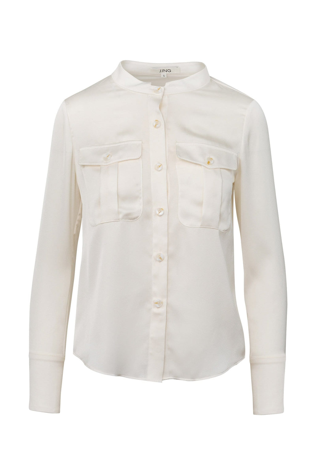 Colleen White Collarless Blouse by J.ING Women's Apparel