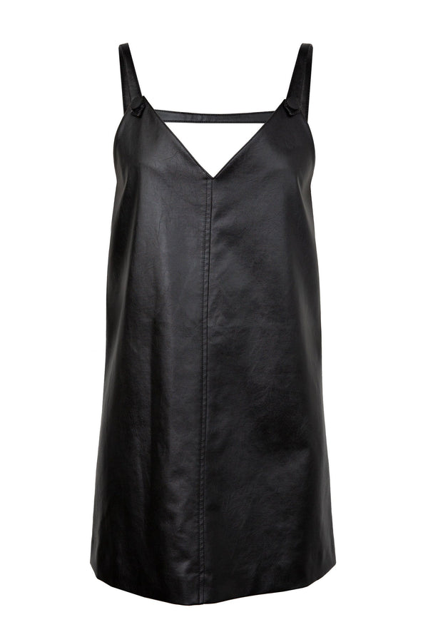 Gia Black Vegan Leather Dress