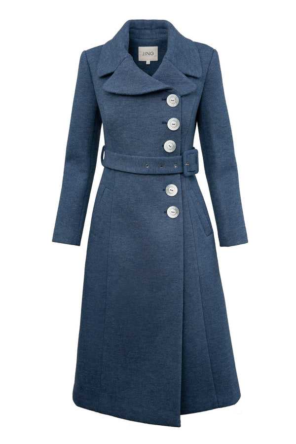 Jacklyn Blue Belted Reefer Coat