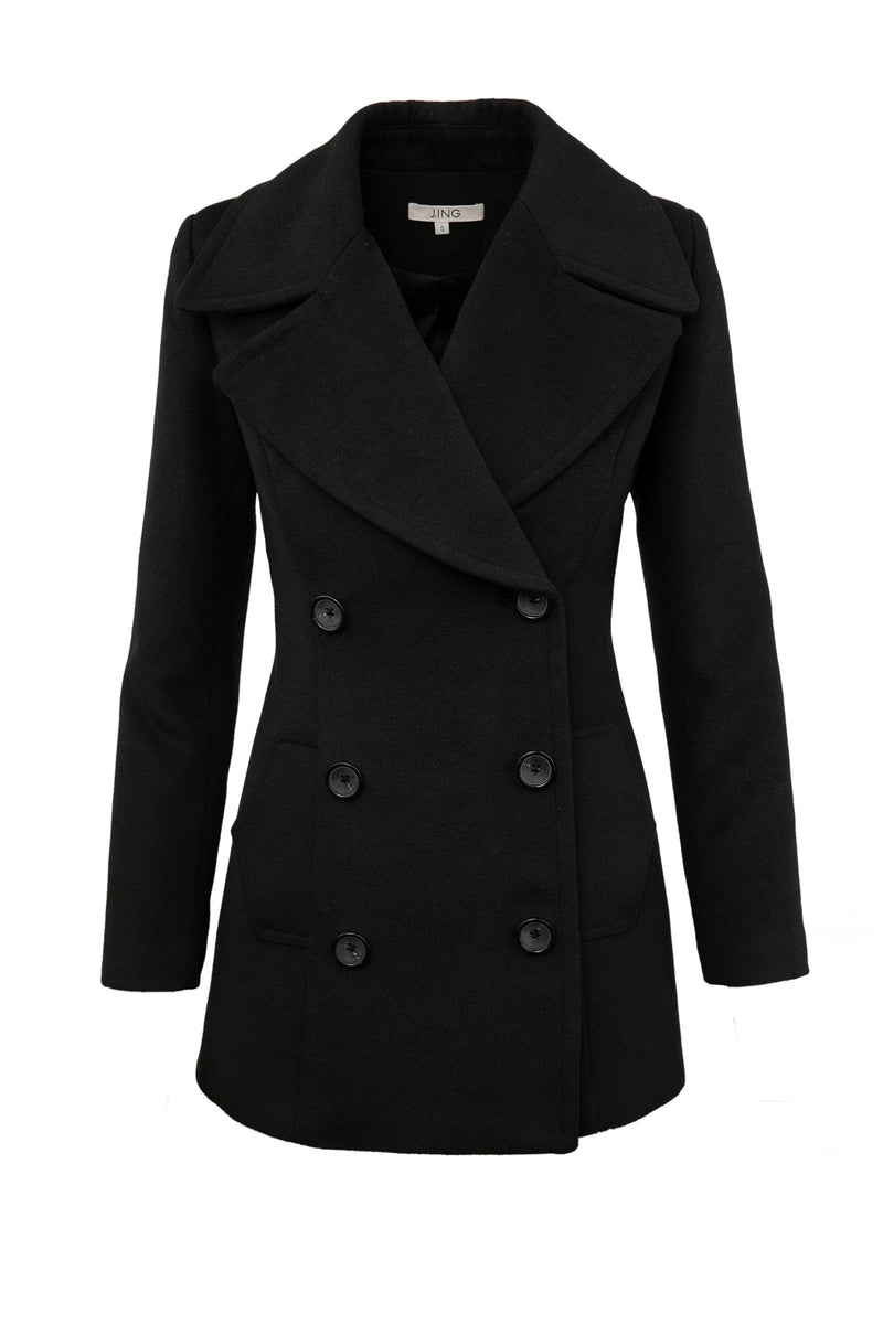 Sini Black Fitted Pea Coat