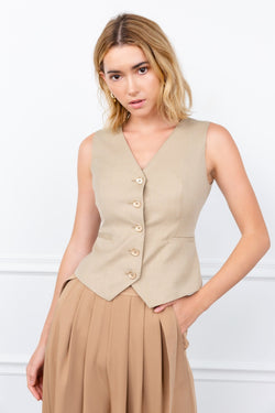 Beige Button Up Vest | J.ING Women's Office Ensembles