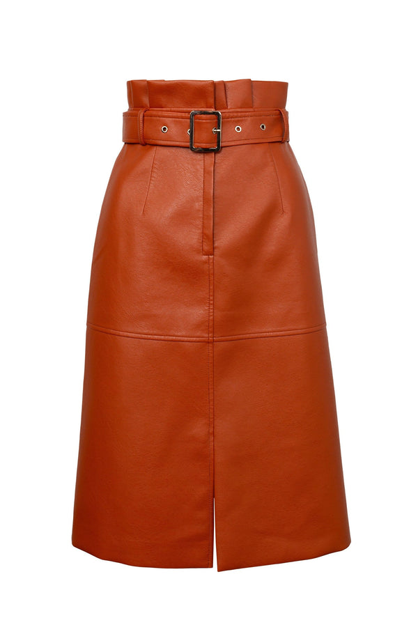 Brick Orange Belted Midi Skirt