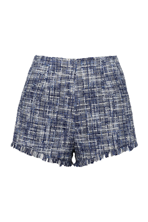 Teaser Blue Raw Tweed Shorts