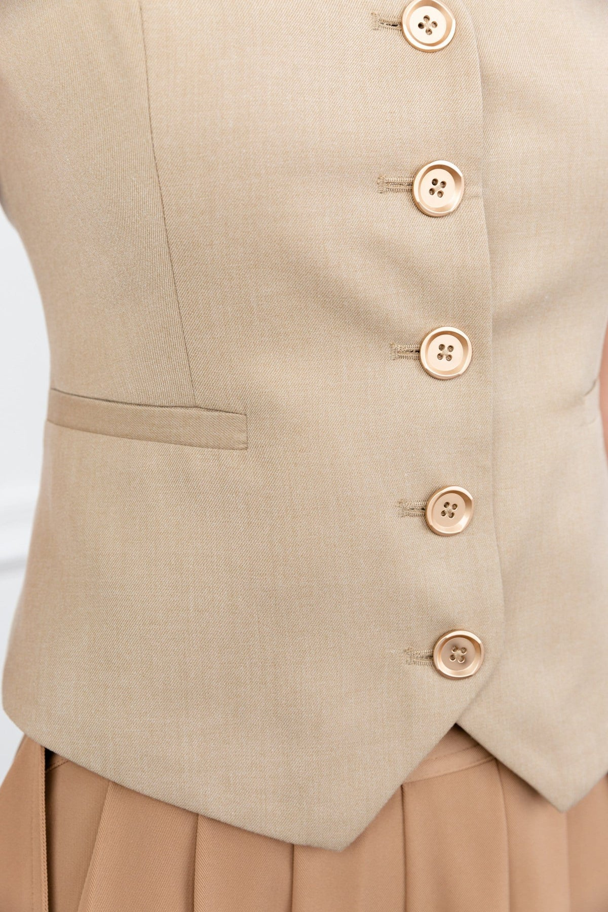Shelly Beige Button Vest