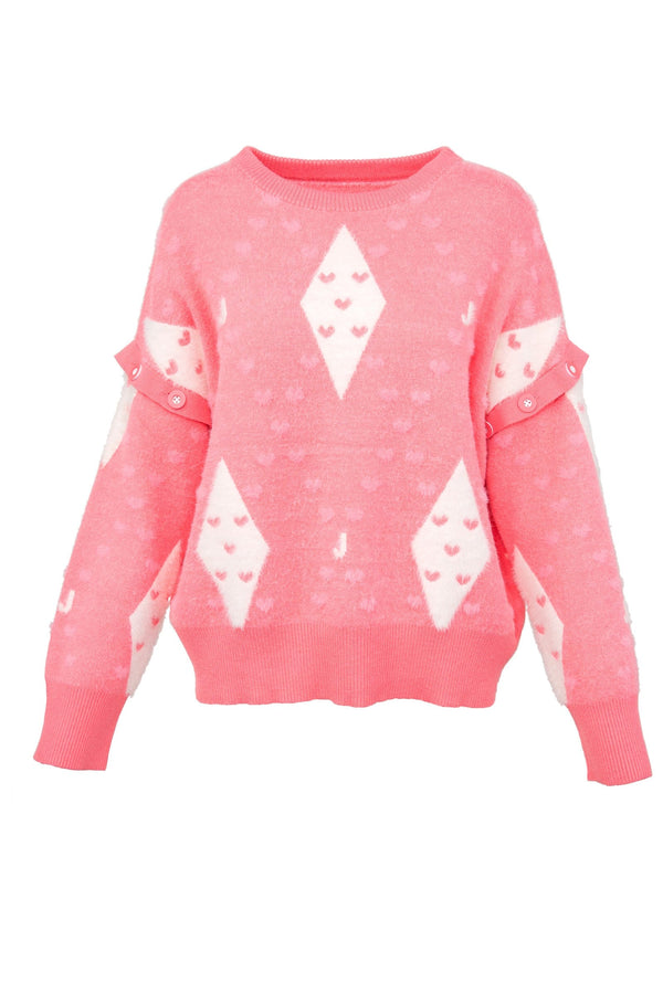 Heart of Diamond Pink Convertible Sweater