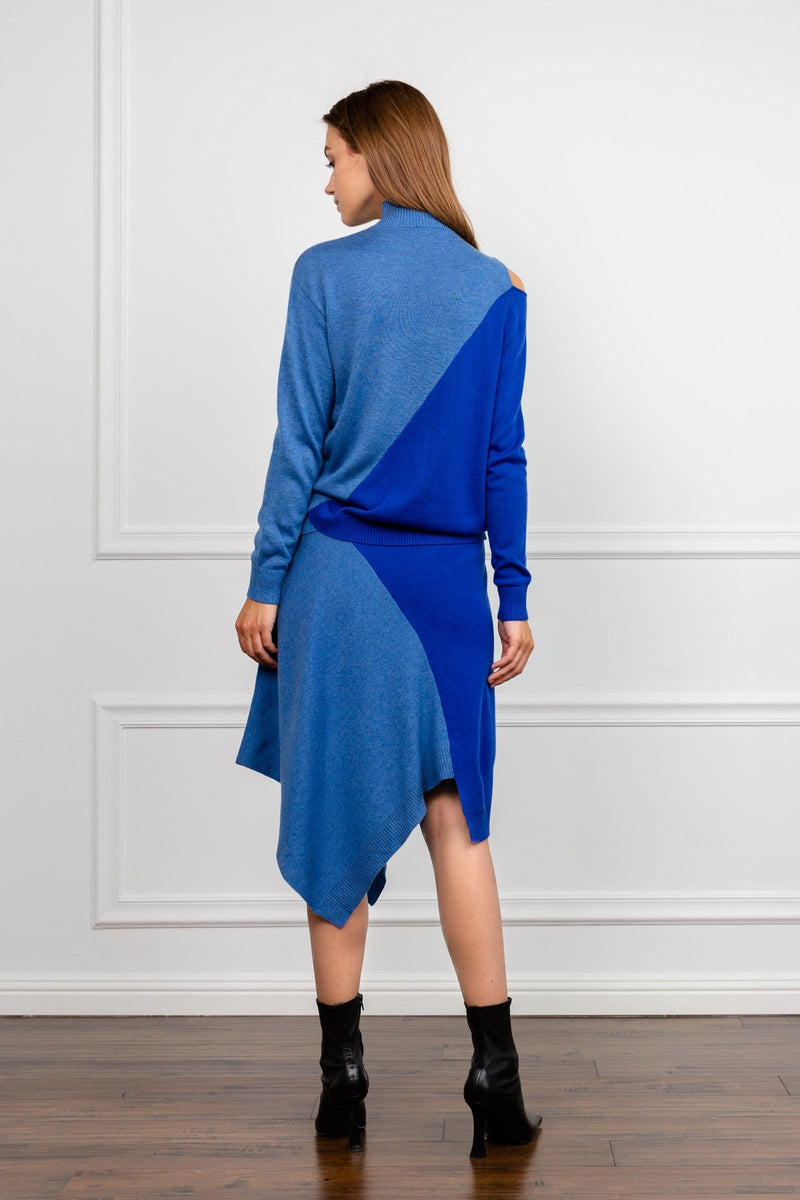 Shader Blue Knitted Midi Skirt