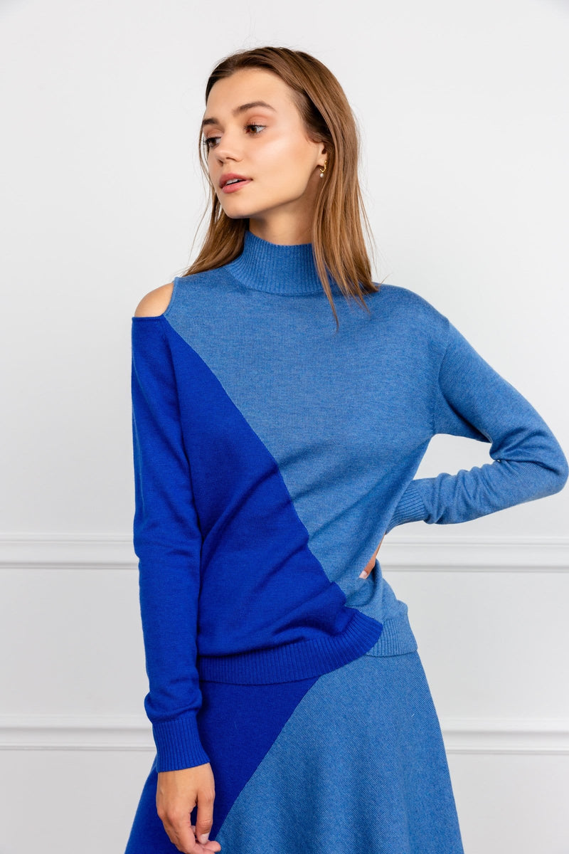 Blue knitted high neck sweater