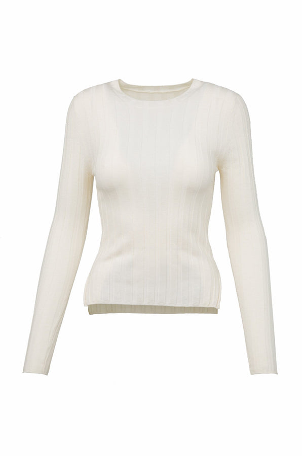 Non Plus White Ribbed Long Sleeve