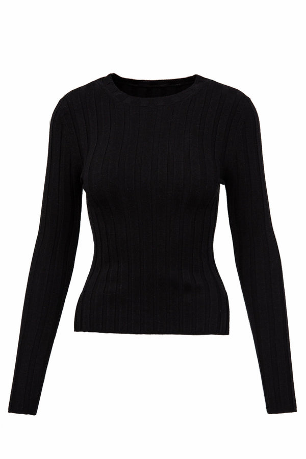 Non Plus Black Ribbed Long Sleeve