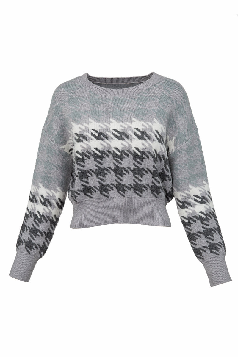 Maverick Grey Houndstooth Sweater