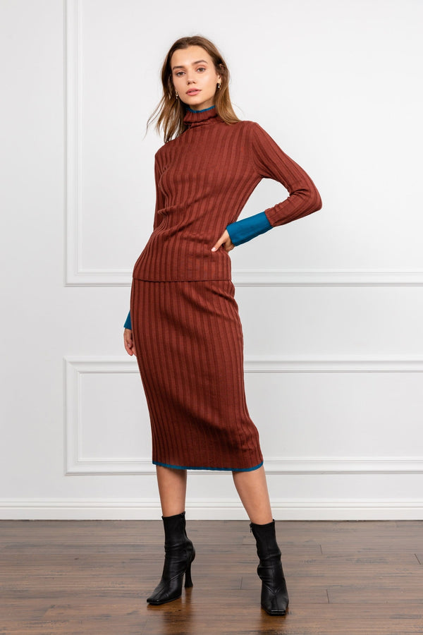 Brown Midi Knit Skirt