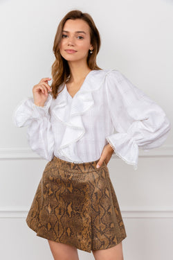 White Ruffled Blouse with Poet Sleeves | J.ING Women's Tops