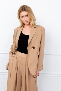tan women's oversize blazer by j.ing women's workwear