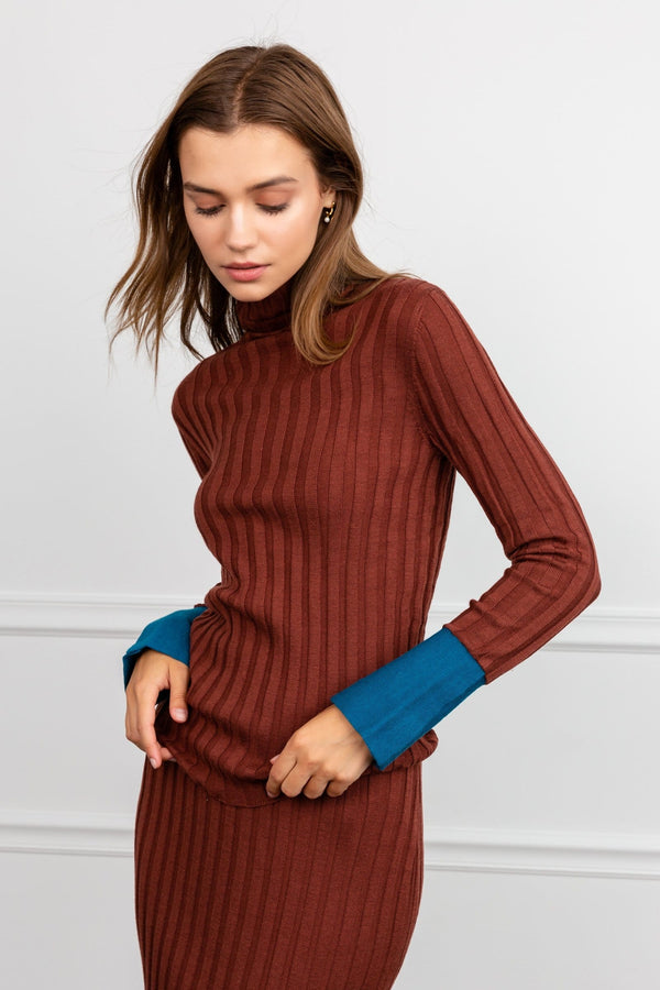Brown Turtleneck Long Sleeve Knit Top by J.ING women's fashion