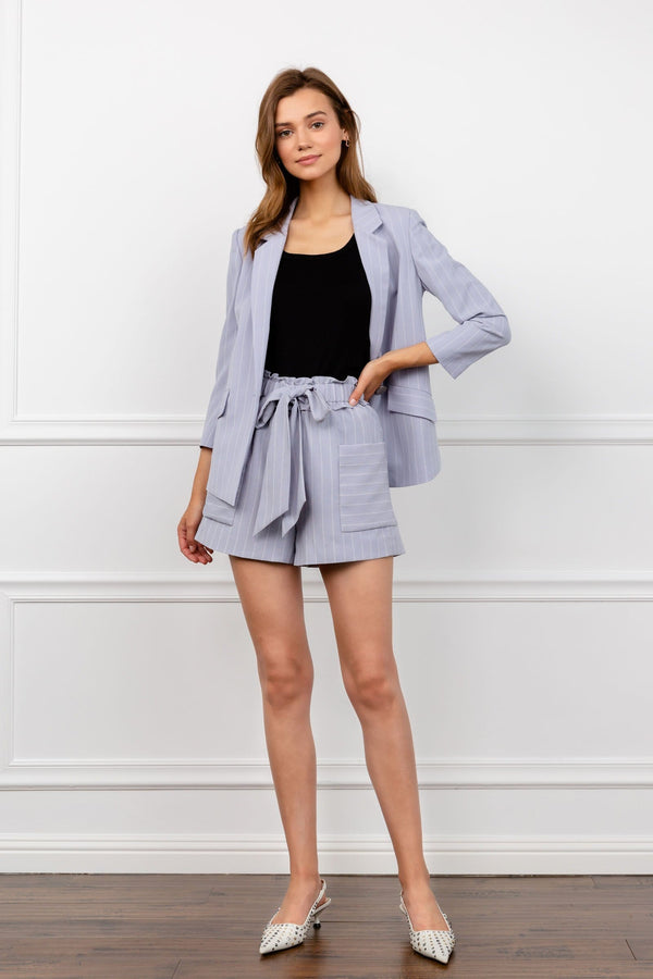 Lavender Striped Shorts with Bow Tied Waist by J.ING Women's Workwear