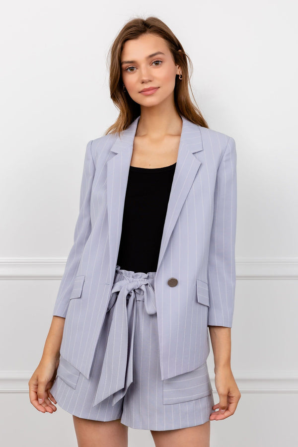 lavender striped women's cropped sleeve blazer co-ord by j.ing