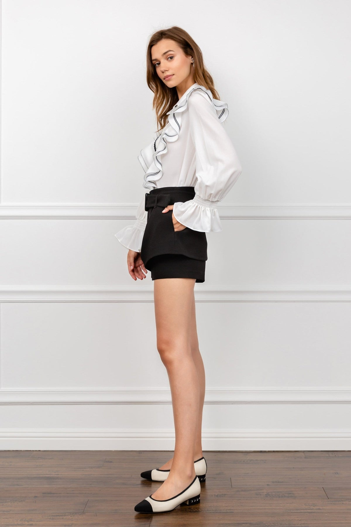 Klimt White Ruffled Blouse