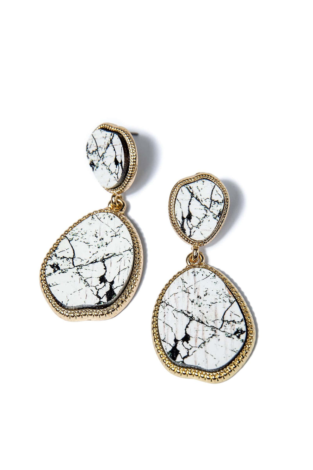 White Marble Earrings by J.ING women's fashions and accessories