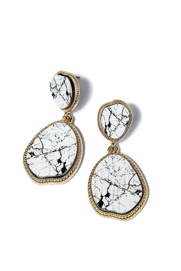 White Marble Earrings