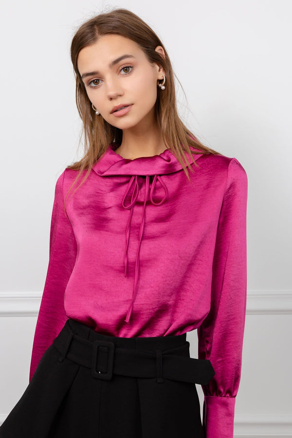Fuchsia Hot Pink Silky Cowl Neck Blouse | J.ING Women's Tops & Apparel