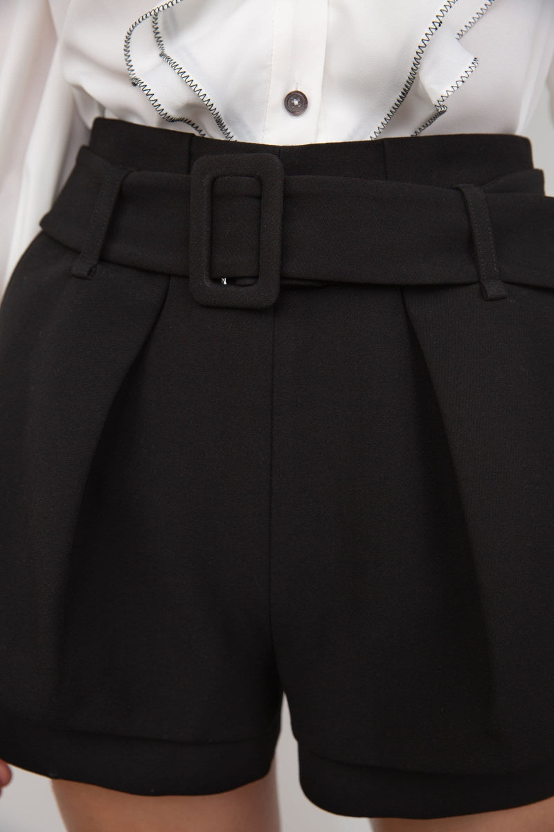 Midnight Black Belted Shorts