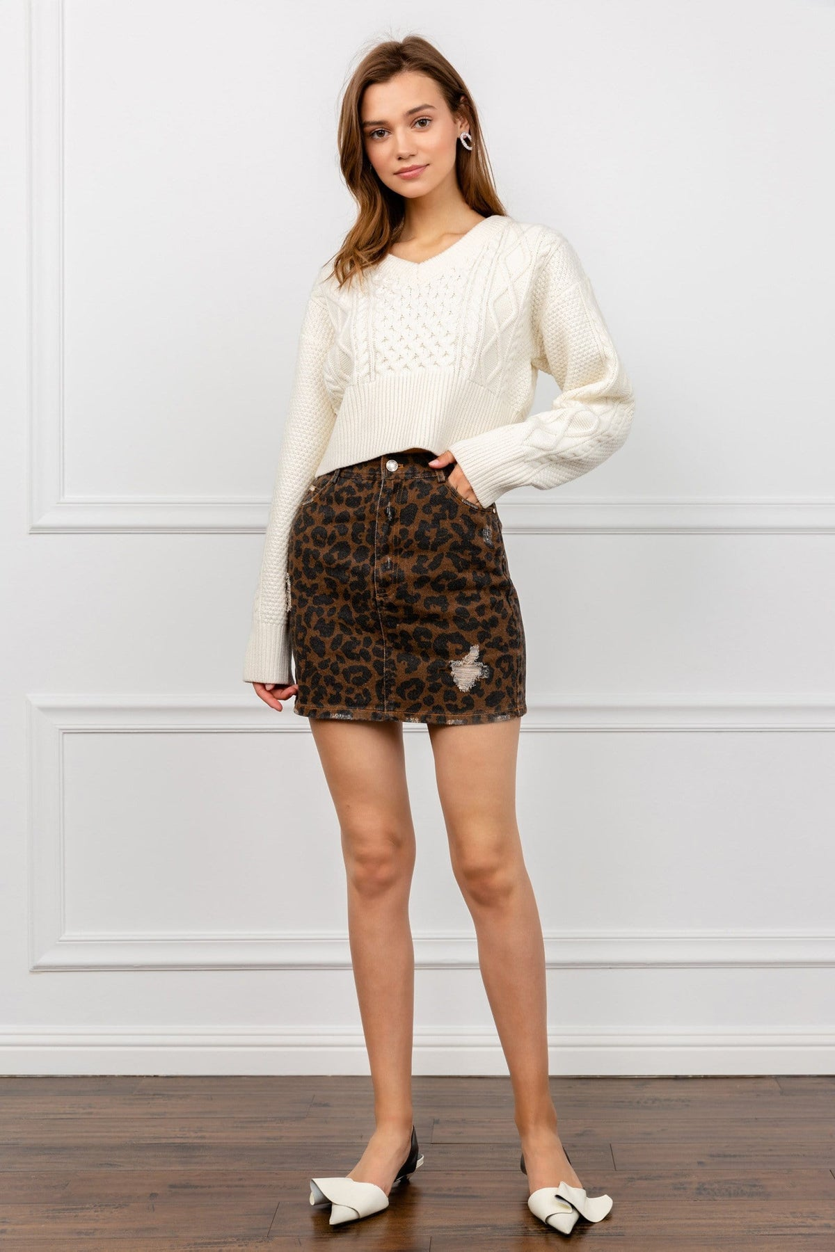 Brown Cheetah Print Mini Denim Skirt | J.ING Women's Apparel
