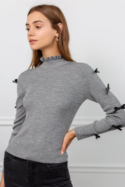 Grey Mock Neck Sweater with Black Bows on Sleeves | J.ING Women's Knitwear