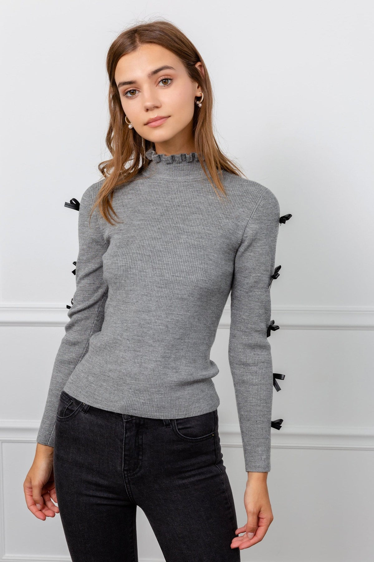 Tied 2 You Grey Turtleneck Top